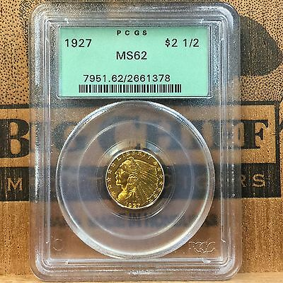 1927 $2.50 Gold Indian Head Quarter Eagle Coin PCGS MS62 #4924