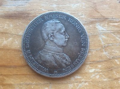 1913-A Prussian Germany 5 mark silver military bust type@@ must see@@@