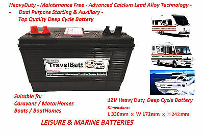 12V 130AH (110AH) TravelBatt TB31MF ( XV31MF ) Deep Cycle Leisure Marine Battery