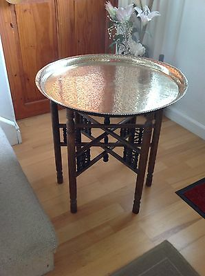 STUNNING Vintage INDIAN Foldaway Brass Top Table Ornately Carved Wooden Legs