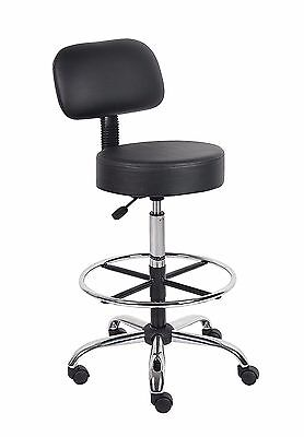 Boss Office Products Be Well Medical Office Spa Kitchen Stool With Back Black