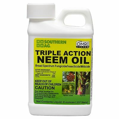 Triple Action Neem Oil 8oz Organic Insecticide Fungicide Miticide Southern Ag