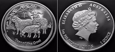 SILVER PLATED 2015 Australian 1oz Year of The Goat SOUVENIR - COPY COIN