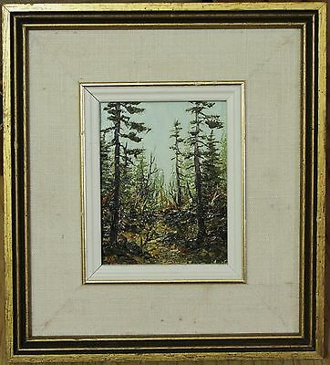 Vintage Oil Painting On Board By Canadian John Lukkarinen - Spruce Forest