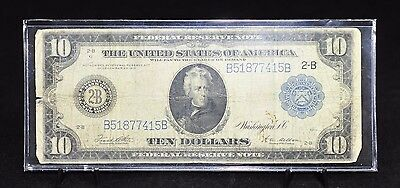 1914 US $10 Blue Seal Federal Reserve Large Note White/Mellon [05DU]