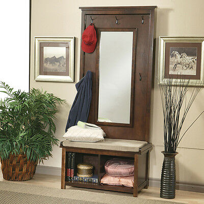 New Transitional Raw Umber Seat Cushion Wood Accent Hall Tree w/hooks and mirror