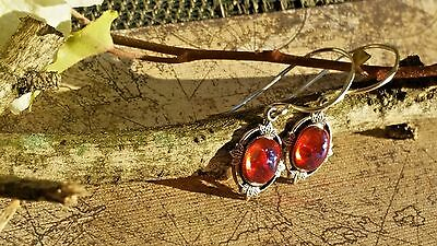 Dragon's Breath Fire Opal Earrings Leaves dangle or post Breathtaking Fall gifts