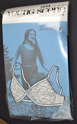 Vtg 1960's Lark YOUNG SCENE Pretty Lacy BRA 36AA in Package NEW Old Stock