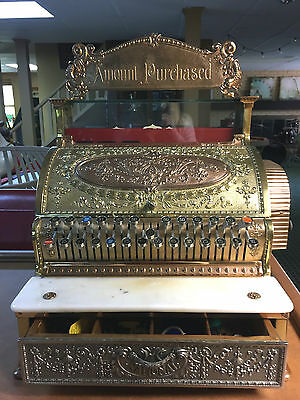 ANTIQUE National Cash Register Restored Ornate Brass Register with Top Sign