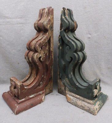 Antique Pair Red/Green Wood Corbels Shabby Old Chic Cornice Vtg 17-17R