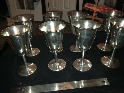 Silver plate Wine Goblets by Crescent Silver Mfg Set of 8