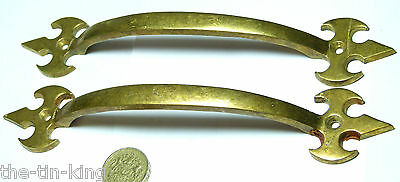 Pair Antique Arts&crafts Gothic Brass Pull Handles Door Gate Drawer Sash