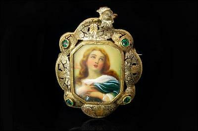 Antique Victorian Hand Painted St Madonna Portrait Jeweled Brooch Pendant