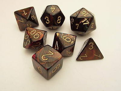 Chessex Scarab Blue Blood & Gold 7 Polydice Set