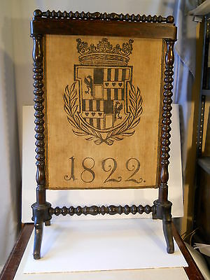 Antique pre victorian   Framed Fire Place Screen with family crest