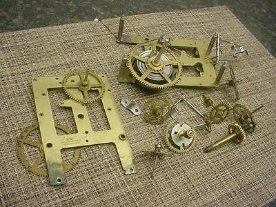 "Vintage ""India"" Brass Unsigned Mantle Clock Movement Parts Lot E841"