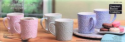 NEW Mikasa Set of 6 Stoneware Mugs - Elegant Pastel Colors