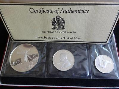 1977 Malta Silver Proof 3 Coin Year Set Box + Coa Lm5 Lm2 & Lm1 Windmill Dog
