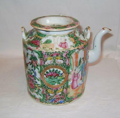 C19th Chinese Porcelain Teapot Famille Rose Mandarin Pattern a/f