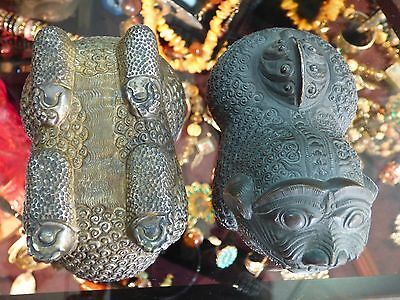 Antique Hand Wrought Silver Chinese Foo Dog Box In Great Condition  Make Offer !