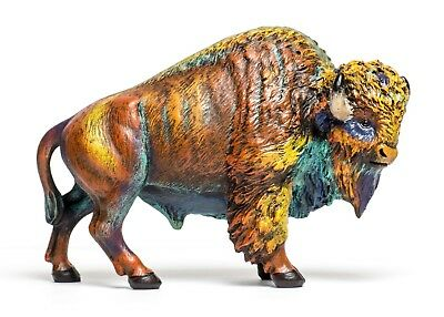 9.25-inch Multicolor Bison Figurine Multicolor Buffalo Statue # BAF755