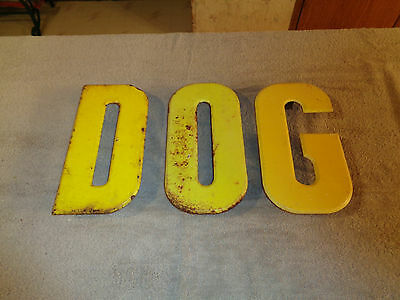 """Vintage Industrial Marquee Advertising Sign 10"""" Metal Letters """" DOG """""""