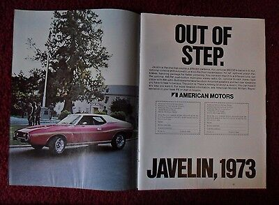 1973 Print Ad AMC American Motors Javelin Car Auto ~ Out of Step Military Base