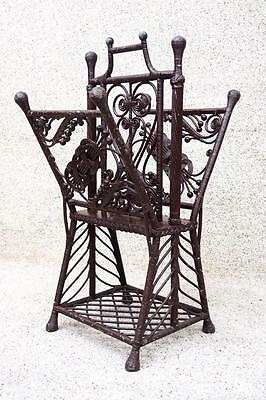 Victorian Antique Wicker Magazine Rack to Match Porch Chair Settee Set