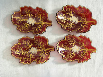 (4) Antique Cut Red Glass & Gilt Leaf Dishes