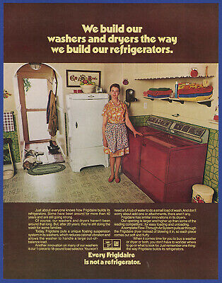 Vintage 1972 FRIGIDAIRE Washer Dryer Appliance Print Ad 1970's