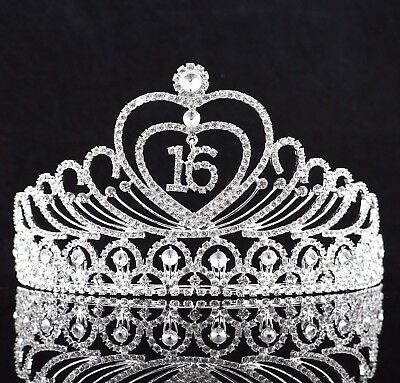 Sweet 16 Sixteen Birthday Party Austrian Rhinestone Tiara Crown W/ Hair Comb T1