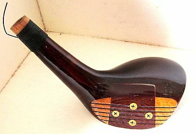 Vintage LH Sounder 7 Wood Genuine Persimmon New Golf Club Head Brass SolePlate