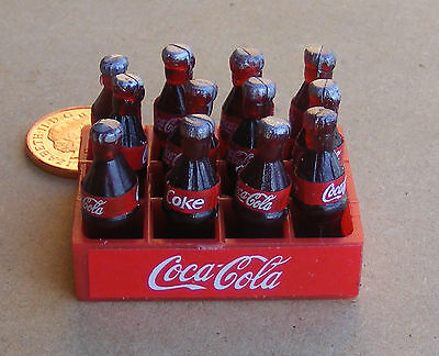 1:12 Plastic Coca Cola Crate & Bottles Dolls House Miniature Bar Coke Accessory