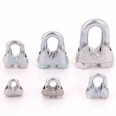 SMALL - LARGE METAL ROPE CLAMPS 3/5/6/8/10/12mm Wire/Cord/Cable U Bolt Fixing