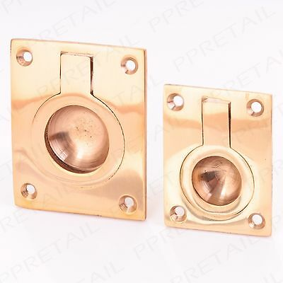 Solid Brass FLUSH FIT RING PULL HANDLE Small/Large Recessed/Inset/Door/Furniture