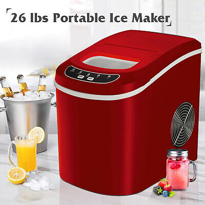26LBS/Day Portable Electric Ice Maker Cube Machine Countertop Home Red