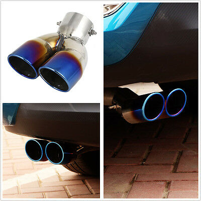Universal 73mm Stainless Steel Car Auto Rear Dual Exhaust Pipe Tail Muffler Tip