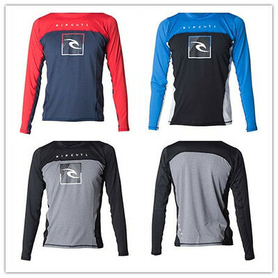 Rip Curl Mens Zone Relaxed Long Sleeve UV Tee Rash Vests Red&Blue Size S M L XL