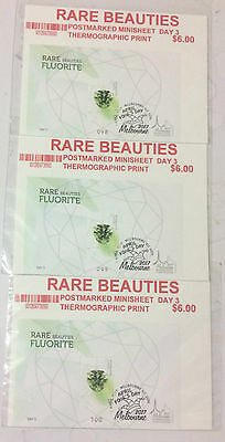 2017 Melbourne Stamp Show Rare Beauties 3 Minisheet Postmarked Day3 # 98/99/100