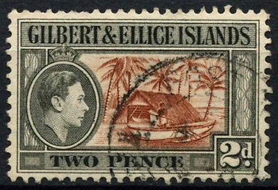 Gilbert & Ellice Islands 1939-55 SG#46, 2d Canoe And Boat House KGVI Used#D48159