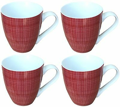 Sketch Set of 4 Mugs Porcelain Extra Large Coffee Soup Hot Cocoa Mugs Red