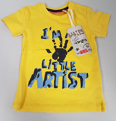 Infant Size 0-12 Months Yellow T-Shirt Baby I'm A Little Artist Bright Top Shirt