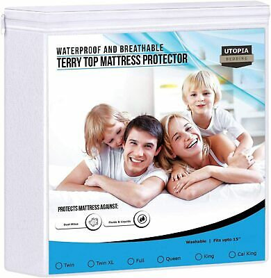 Terry Top Waterproof Mattress Protector Fitted Around Elastic  Utopia Bedding