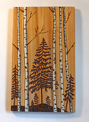 Woodburning Art, Pyrography, Birch/Aspen & Pine Tree Landscape w/Acrylic Accents