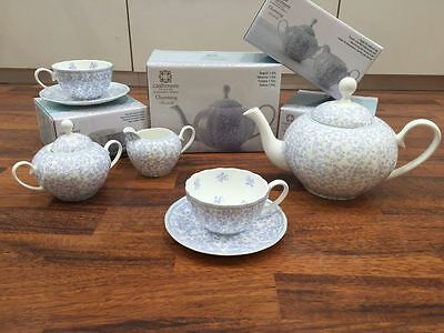 New Maxwell Williams Cashmere Bluebells Bone China 7 Piece Tea Pot Set GB