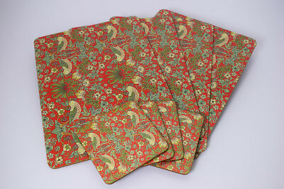 William Morris Red Strawberry Thief Placemats Coasters Serving Tray Home Dining