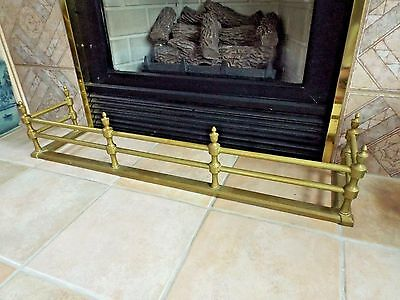 Antique 1800's Victorian Heavy Brass Fireplace Fender in Excellent Condition