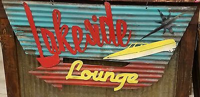 Lakeside Mid-Century Retro Painted Metal Sign FREE SHIPPING