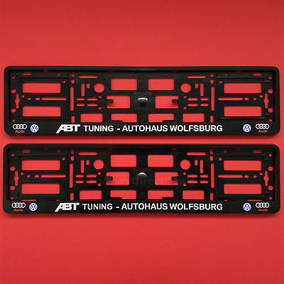 2x ABT TUNING AUTOHAUS WOLFSBURG Number Plate Surround Holder For Audi A4 B7