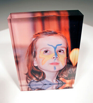 Personalised Acrylic Photo Block Frame Custom Create Design Your Own Fathers Day